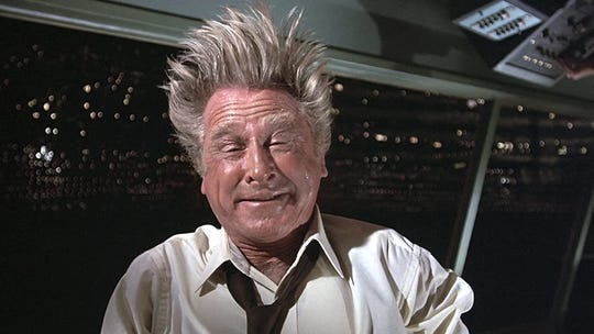 "Looks like Lloyd Bridges picked the wrong week to give up sniffing glue in ""Airplane!"""