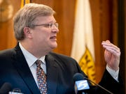"""Memphis Mayor Jim Strickland announces his """"Safer at Home"""" executive order Monday, March 23, 2020, during a press conference at City Hall in downtown Memphis."""