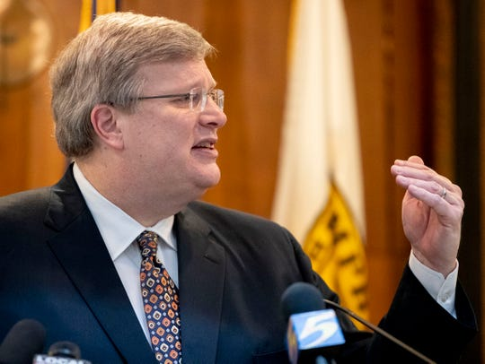 "Memphis Mayor Jim Strickland announces his ""Safer at Home"" executive order March 23, 2020, during a news conference at City Hall in Downtown Memphis."