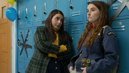 "Girls (Beanie Feldstein, left, and Kaitlyn Dever) don't just want to have fun, they want a lot of stuff, in ""Booksmart."""