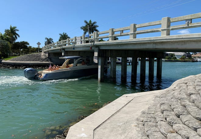 A 2017 inspection report shows this bridge on Winterberry Drive, near South Heathwood Drive, photographed on March 22, 2020, has been classified as functionally obsolete by the Florida Department of Transportation. It was built in 1967.