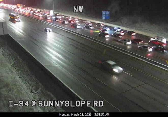 Traffic backs up on I-94 westbound near Sunnyslope Road. A crash closed the westbound lanes at Moorland Road.