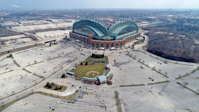American Family Field, then called Miller Park, is seen from a drone in Milwaukee in March 2020. The stadium opened in 2001 as a replacement for County Stadium, southwest of the intersection of Interstate 94 and Brewers Boulevard. Before the decision was made to build adjacent to County Stadium, many other sites across southeast Wisconsin were considered as options.