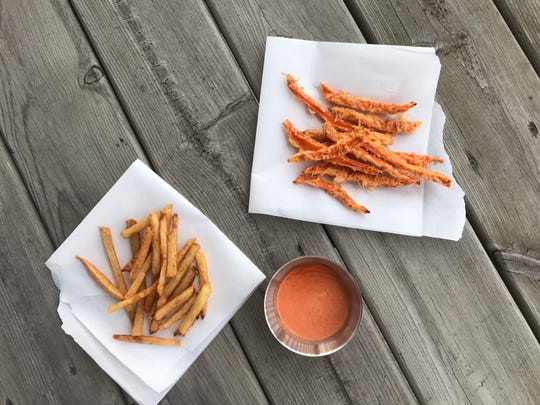 French fries, sweet potato fries and a special sauce can give you that dining-out experience at home.