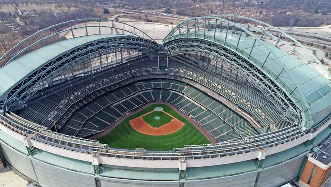 Miller Park is seen from a drone on March 23. The coronavirus has shut down all major sports including the Brewers and major league baseball.