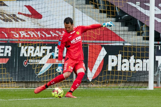 Goalkeeper Mike Lansing of Randolph launched his professional career in Denmark.