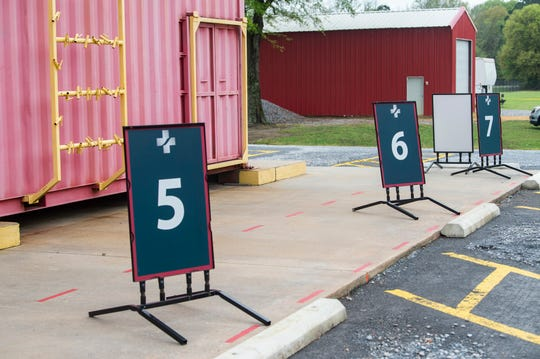 Numbered parking spots at the Baptist Health coronavirus testing clinic in Prattville, Ala., on Monday, March 23, 2020.