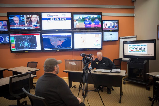 Delaware County Commissioner Shannon Henry holds a teleconference meeting with the other two county commissioners on Monday, March 23 at the Delaware County Emergency Operations Center.