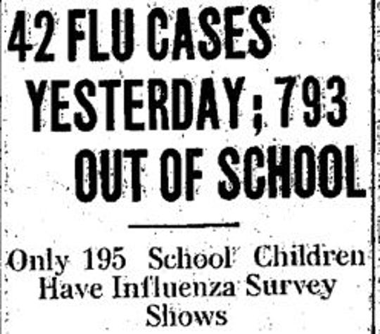 A headline from the Dec. 4, 1918 Newark Advocate during the flu pandemic.
