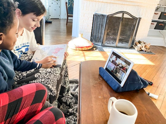 Will, 9, and Kena, 6, join Zoom meeting via Classical Conversations of Livingston, NJ, on March 18, 2020. The program connects homeschooling families like the Friederichsen family of Millburn.