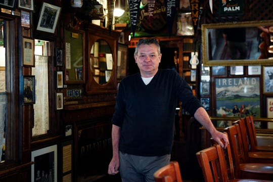 Luke Farrelly, owner of P.J. Finnegan's, photographed in his restaurant on Monday, March 23, 2020, in Westwood. P.J. Finnegan's will be open for delivery and take-out only Tuesday through Sunday as Bergen County deals with the Covid-19 outbreak.