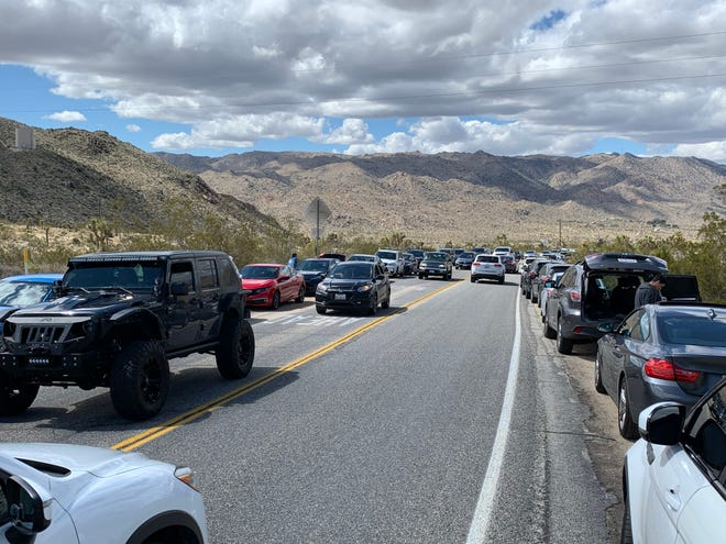 Traffic mounts at Joshua Tree National Park's West Entrance as park closes campgrounds and roads on March 22, 2020.