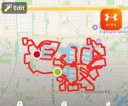 A map of the teacher car parade route through Val Vista Lakes neighborhood.