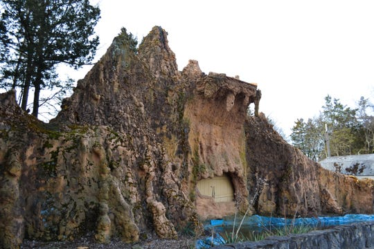 The mountain will remain on the former Prehistoric Forest property when Forest RV Park opens this spring. The mountain is currently being updated and the waterfall will be reinstalled.