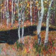 """Karen Schaffel's painting, """"Into the Woods,"""" inspired a poem by William A. Greenfield, """"Far from the Raging World."""""""