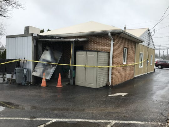Damage to the rear of the Moonlight Cafe in Dover Township following an arson there on March 20, 2020. Justin Adam Elicker has been charged in the case.