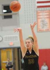 Pavilion's Lauren Kingsley hits a free throw during the 2020 Section V Class D1 championship game.