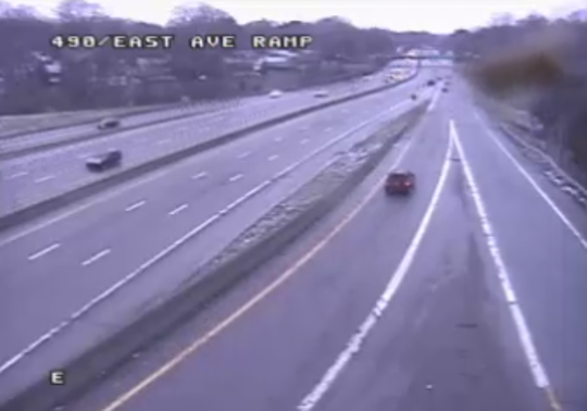 Motorists on Interstate 490 near East Avenue around 7:45 a.m. on Monday