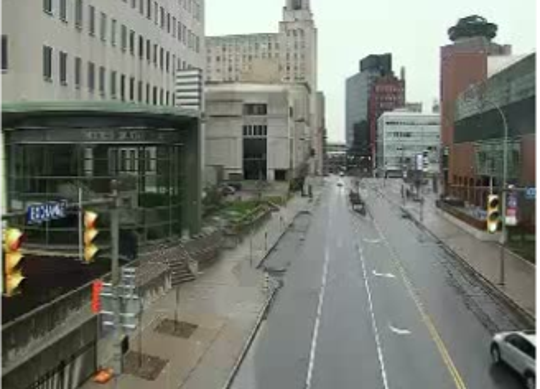 Exchange Boulevard is empty in downtown Rochester just before 8 a.m. on Monday, March 23, 2020. The Hall of Justice is on the left and the Blue Cross Arena on the right.