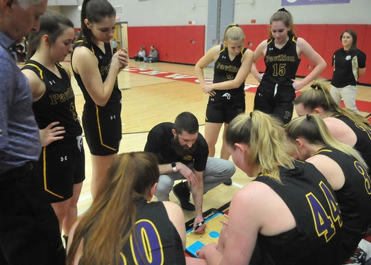 Pavilion coach  Ben Schwenebraten draws up a play during the Golden Gophers' Section V Class D1 championships game awin over Fillmore.