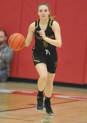 Karlee Zinkievich  brings the ball up the floor during the 2020 Section V Class D1 championship game against Letchworth. Zinkievich scored 20 points and was named tournament MVP as a freshman.