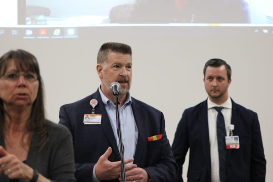 Robert Folden, chief operating officer of Mercy Medical Center, speaks at a coronavirus press conference on Monday, March 23, 2020.
