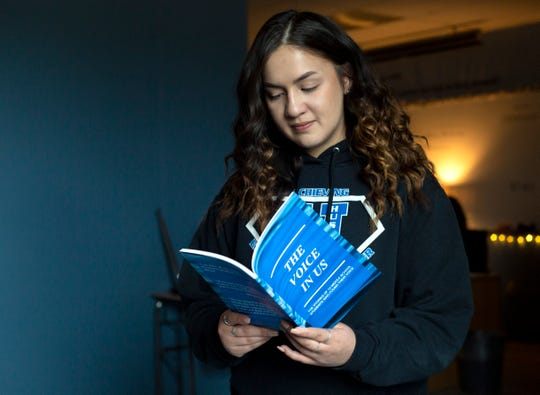 Amaya Albelo is the reflection room supervisor at Houck Middle School in Salem, on March 13, 2020. Albelo was the catalyst to 13 students writing 'The Voice in Us,' detailing traumas, abuses and obstacles they've overcome.