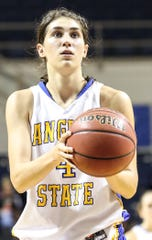 Lauren Holt prepares to shoot a free throw for the Angelo State University women's basketball team during a 2012 game.