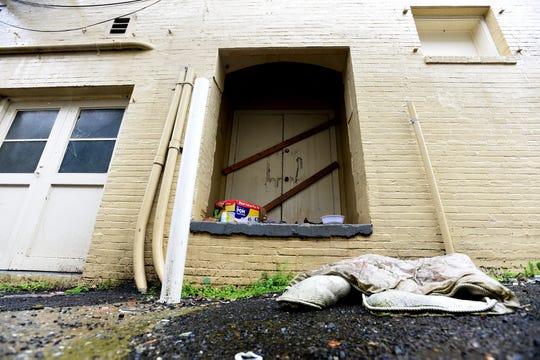 A homeless makeshift shelter in downtown Shreveport.