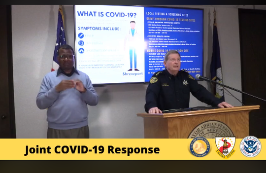 Sheriff of Caddo Parish Steve Prator speaks at the press conference that was streamed live on the Caddo Parish Facebook page.