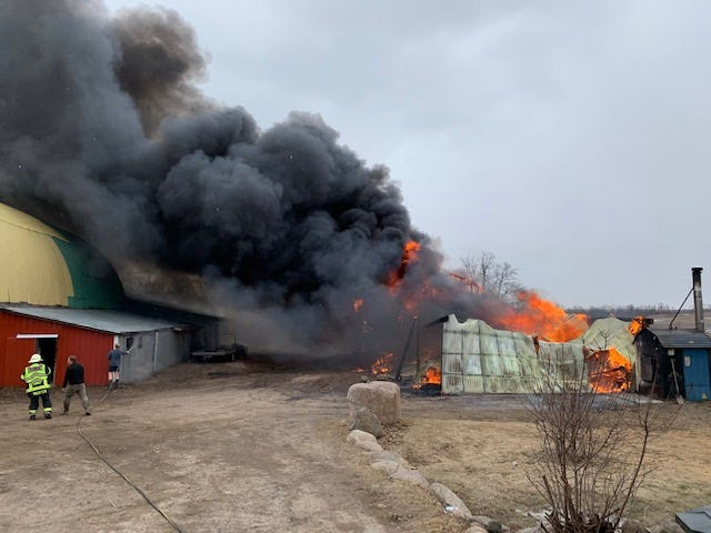 A shed fire destroyed two vehicles and two four-wheelers and damaged a nearby barn and home on Smiley Drive in Avon township on Saturday, March 21, 2020.