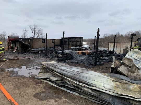 A fire destroyed a shed and its contents in Avon township around 4 p.m. Saturday, March 21, 2020.