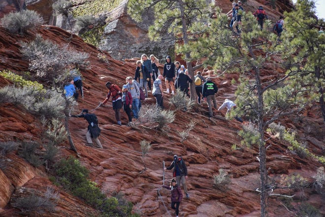 This photo from March 21, 2020 is a view of Angel's Landing. Despite social distancing guidelines, visitors are still streaming to the park.