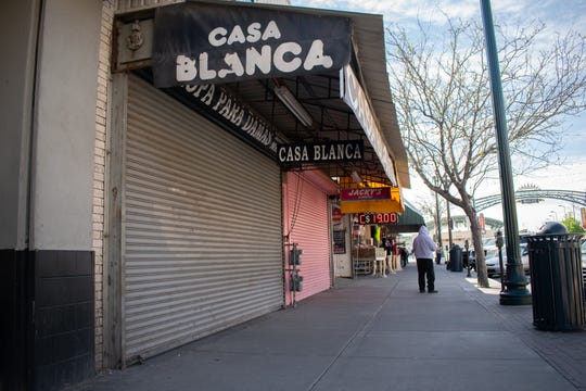 With non-essential crossing limited to travelers with tourist visa El Paso Street sees fewer pedestrians and shoppers.