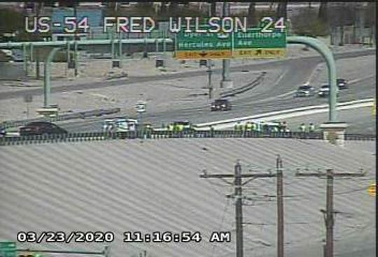 Highway cameras show El Paso police at a hit-and-run car accident on U.S. 54 on Monday, March 23, 2020.