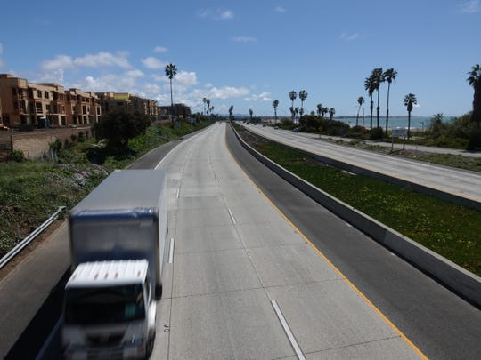 Looking south on Highway 101 in Ventura around noon on March 23, 2020, traffic lanes were mostly clear as residents stayed home due to the coronavirus.