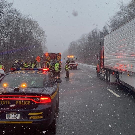 A crash caused serious injuries on Interstate 684 in Bedford on March 23, 2020.