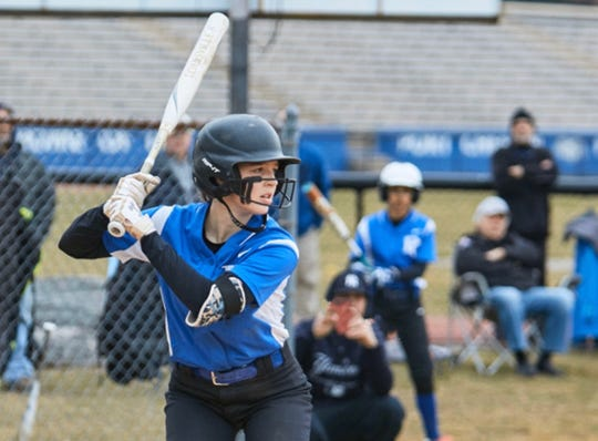 Port Chester's Brooklyn Ostrowski is up to bat in a game last season.