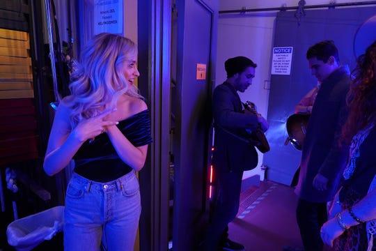 "Margie Mays watches boyfriend Jonny West backstage on ""American Idol."""