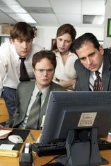 """John Krasinski (from left), Rainn Wilson, Jenna Fischer, Steve Carell in """"The Office."""""""