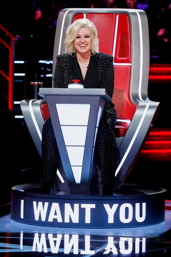 "Kelly Clarkson during Blind Auditions on ""The Voice."""