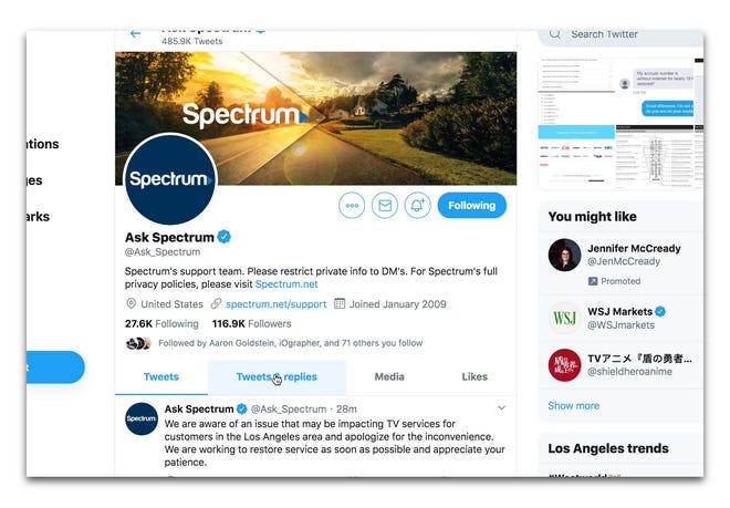 Spectrum's Twitter page