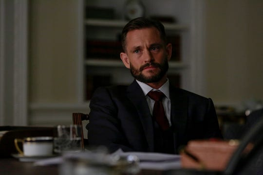 Hugh Dancy, playing presidential foreign policy adviser  John Zabel, made his first appearance Sunday on Showtime's 'Homeland.' His wife, Claire Danes, plays the drama's central character.
