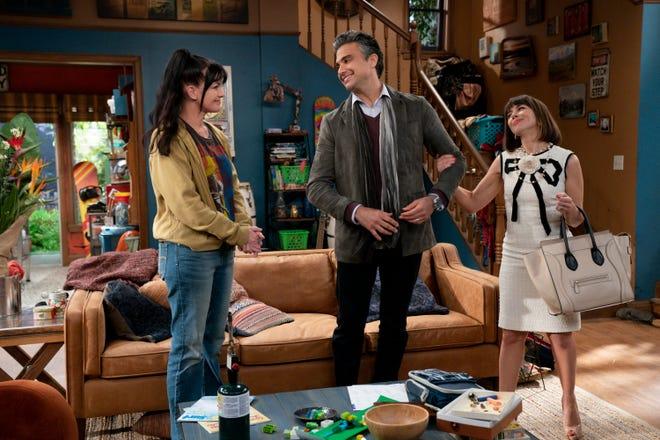 Pauley Perrette, left, Jaime Camil and Natasha Leggero star in the CBS family comedy, 'Broke.'
