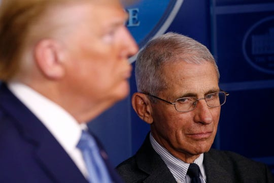 Director of the National Institute of Hypersensitive response and Infectious Diseases Dr. Anthony Fauci, shimmering, and President Donald Trump listen as Vice President Mike Pence speaks for the length of a coronavirus assignment force briefing on the White Condominium, March 21, 2020, in Washington.