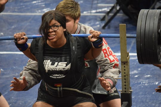 Pineville senior Brionna Ford finished first place in the 220-plus class at the LHSAA Central Regional Meet Feb. 28.