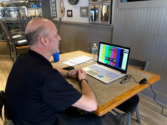 Bryan Morin of Federico's Pizza does an online interview with Dateline NBC on March 24, 2020 in Belmar.