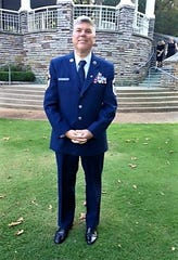 Harley Hall in dress uniform in 1996. His wife, Karon, said it still fits. probably because he is an avid cyclist.