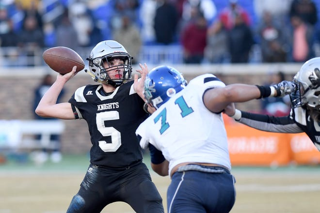 Robbinsville quarterback Nathan Collins looks to throw a pass during the first half of the NCHSAA 1A state championship game at Wallace Wade Stadium in Durham on Dec. 14, 2019.