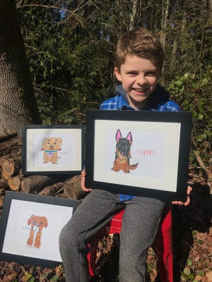 Eight-year-old Bradley Ryan is spending his spare time away from school during the COVID-19 pandemic creating custom drawings of dogs to raise money for the Kitsap Humane Society.